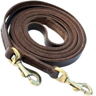 Lædertøjler brun