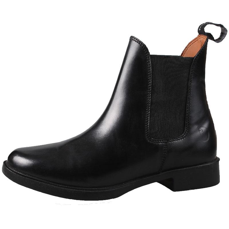 c42ce36a367 Billige kvalitets korte ridestøvler i læder med elastik i siderne